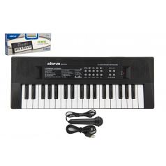 Teddies Piánko/Varhany/Klávesy 37 kláves plast napájení na USB + mikrofon 40cm v krabici 41x15x4cm