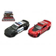 Auto Kinsmart Chevrolet Camaro policie/hasiči 12cm kov asst 2 barvy na zpětné natažení