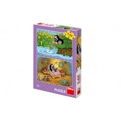 Dino Puzzle Krtek a Perla 26x18cm 2x48 dílků v krabici 27x19x4cm