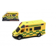 Auto ambulance plast 17cm na setrvačník v blistru CZ design