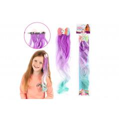 Teddies Spona do vlasov kov / plast s jednorožcom s dúhovým príčeskom 32cm mix farieb v sáčku 16x48cm