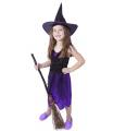 Rappa Dětský kostým fialový s kloboukem čarodějnice/Halloween (M)