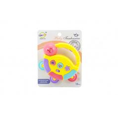 Teddies Tamburínka baby plast 12cm asst 2 barev na baterie se světlem se zvukem na kartě 18m+