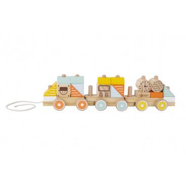 Teddies Vlak dřevo tahací 21 dílků v krabici 48x12x8,5cm  12m+