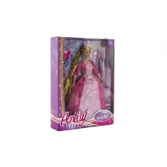Teddies Panenka princezna s dlouhým copem plast 28cm asst 2 barvy