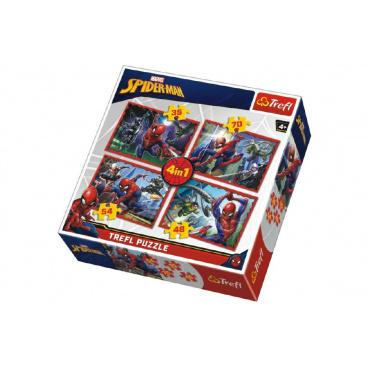 Trefl Puzzle 4v1 Spiderman/Disney Marvel Spiderman v krabici 28x28x6cm