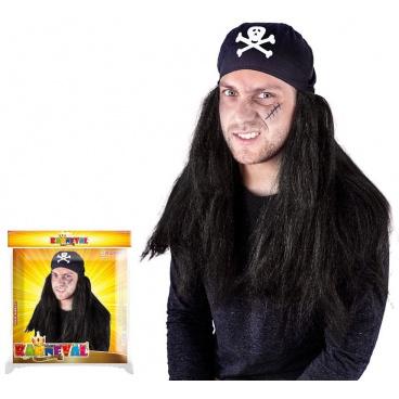 karnevalová paruka pirátská se šátkem dospělá