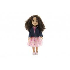 Panenka plast stojící kudrnaté vlasy, růžové šaty a bunda 46cm v krabici 24x49x13cm