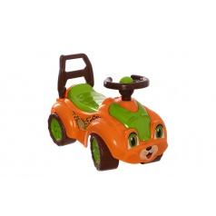 Teddies Odrážedlo auto plast oranžovo-zelené 29x36x62cm