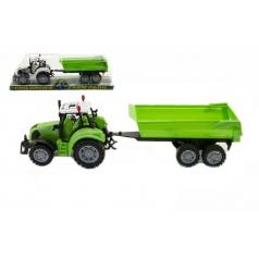 Teddies Traktor s prívesom a výklopka plast 35cm asst 3 farby na zotrvačník v blistri
