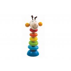 Detoa Žirafa na gumě dřevěná 15cm na kartě 6m+