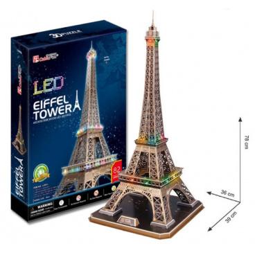 HM Studio 3D puzzle Eiffelova věž LED svítící 82 dílků noční edice