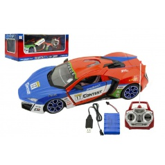 Teddies Auto RC sport racing plast 30cm na baterie + dobíjecí pack 2 barvy v krabici 44x18x22cm