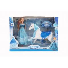 Teddies Kôň česacia + bábika Ľadová princezná plast v krabici 46x33x9cm