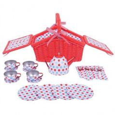 Rappa Bigjigs Toys Dřevěné hračky - Čajová sada v piknikovém koši