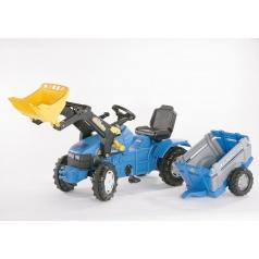 ROLLYTOYS 049431 Šlapací traktor Farmtrac modrý s nakladačem a vlekem