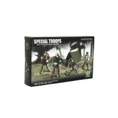 Teddies Stavebnice vojáci plast Pěší jednotka 4ks s doplňky v krabici 25x15x5cm