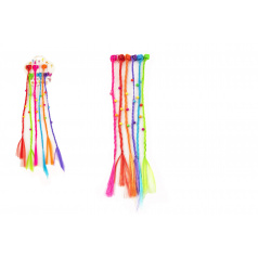 Teddies Sponky / Štipce do vlasov 6ks plast s farebnými vrkôčiky 30cm 2druhy v sáčku