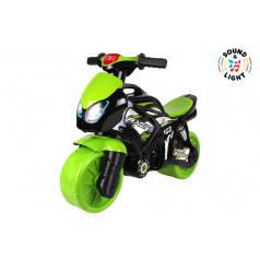 Teddies Odrážedlo motorka zeleno-černá plast na baterie se světlem se zvukem v sáčku 36x53x74cm