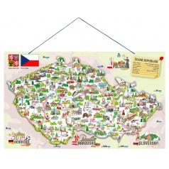 Woody 91230 Magnetická mapa ČR s obrázky a společenská hra, 3 v 1