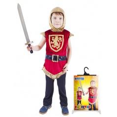 Rappa Dětský kostým rytíř s erbem červený (S)