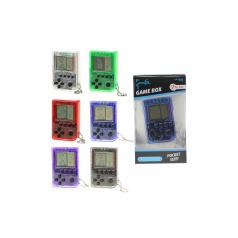 Teddies Přívěšek digitální hra Brick Game Tetris plast 5cm na baterie asst v krabičce 6x11x2cm