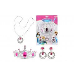 Teddies Súprava krásy plast korunka, náhrdelník, naušnice na karte 20x28x5cm