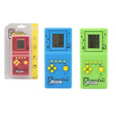 Teddies Digitální hra Padající kostky hlavolam plast 7x14,5cm 3 barvy na baterie se zvukem na kartě