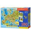 SMT Creatoys Puzzle Mapa Evropy 180 dílků + 32 puzzlí naučné 46x40cm v krabici 33x23x5cm