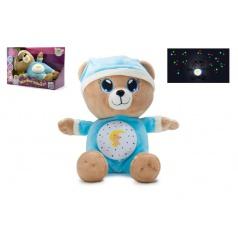Medvídek Usínáček modrý plyš na baterie se světlem a zvukem v boxu