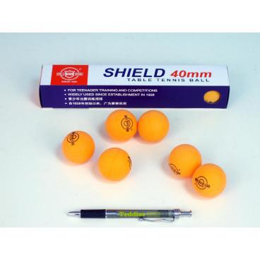 UNISON Míčky na stolní tenis SHIELD 4cm bezešvé oranžové 6ks v krabičce