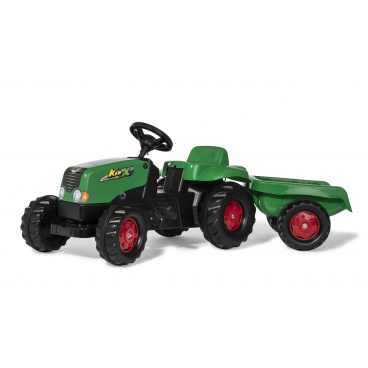 ROLLYTOYS 13265 Šlapací traktor Rolly Kid s vlečkou - zeleno-červený