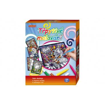 SMT Creatoys Třpytivé malování 4 obrázky + 5 barevných fixů v krabici 19x22x3cm