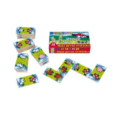 Teddies Domino Moje první zvířátka dřevo společenská hra 28ks v krabičce 17x9x3,5cm