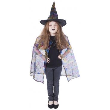 Rappa Dětský plášť čarodějnice s kloboukem/Halloween