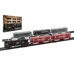 Teddies Vlak + 5 vagónů s kolejemi plast 140x68cm na baterie se světlem v krabici 57x37x4cm