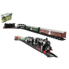 Teddies Vlak + 3 vagóny s kolejemi 24ks plast na baterie se světlem se zvukem v krabici 59x39x6cm