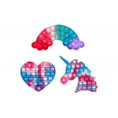 Teddies Bubble pops (Pop it) - Praskající bubliny barevné silikon antistresová společenská hra, 3 druhy