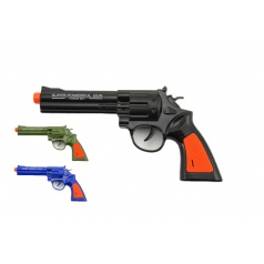 Teddies Pištoľ kolt plast 22cm na batérie so zvukom 2 farby 12 ks v boxe