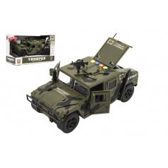 Teddies Auto vojenské plast 24cm na setrvačník na baterie se světlem a zvukem v krabici 28,5x17,5x13cm