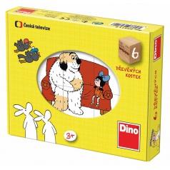 Dino dětské dřevěné obrázkové kostky Večerníčky 6 kostek