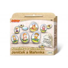 SMT Creatoys Malování na oblázky/kameny s příběhem Jeníček a Mařenka  kreativní sada  v krabičce 19x16x4cm
