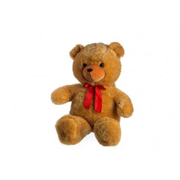 Teddies Medvěd plyš 100cm s mašlí světle hnědý hladký 0+