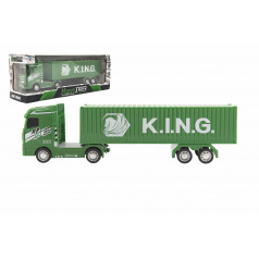 Teddies Kamión s kontajnerom plast 30cm na zotrvačník na batérie so svetlom so zvukom v krabici 35x13x9cm