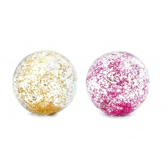 Teddies Míč plážový glitter transparentní průměr 71cm asst 2 barvy