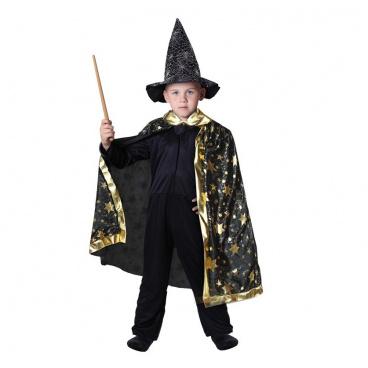 Rappa Dětský kostým kouzelnický plášť černý
