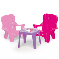 Dolu Dětský zahradní set stůl a 2 židle, jednorožec