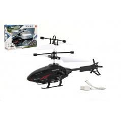 Teddies Vrtuľník na ovládanie rukách použitie USB plast 16cm v krabici 22x15x5cm