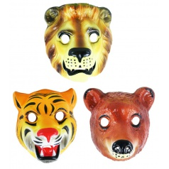 Karnevalová maska plastová - zvířata safari, 3 druhy
