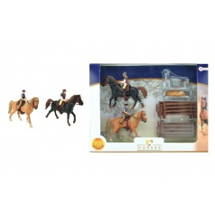 Teddies Sada kôň 2ks + džokeji s doplnkami farma plast v krabici 37x28x5cm